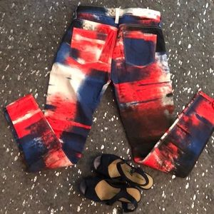 Red white and blue Hudson jeans